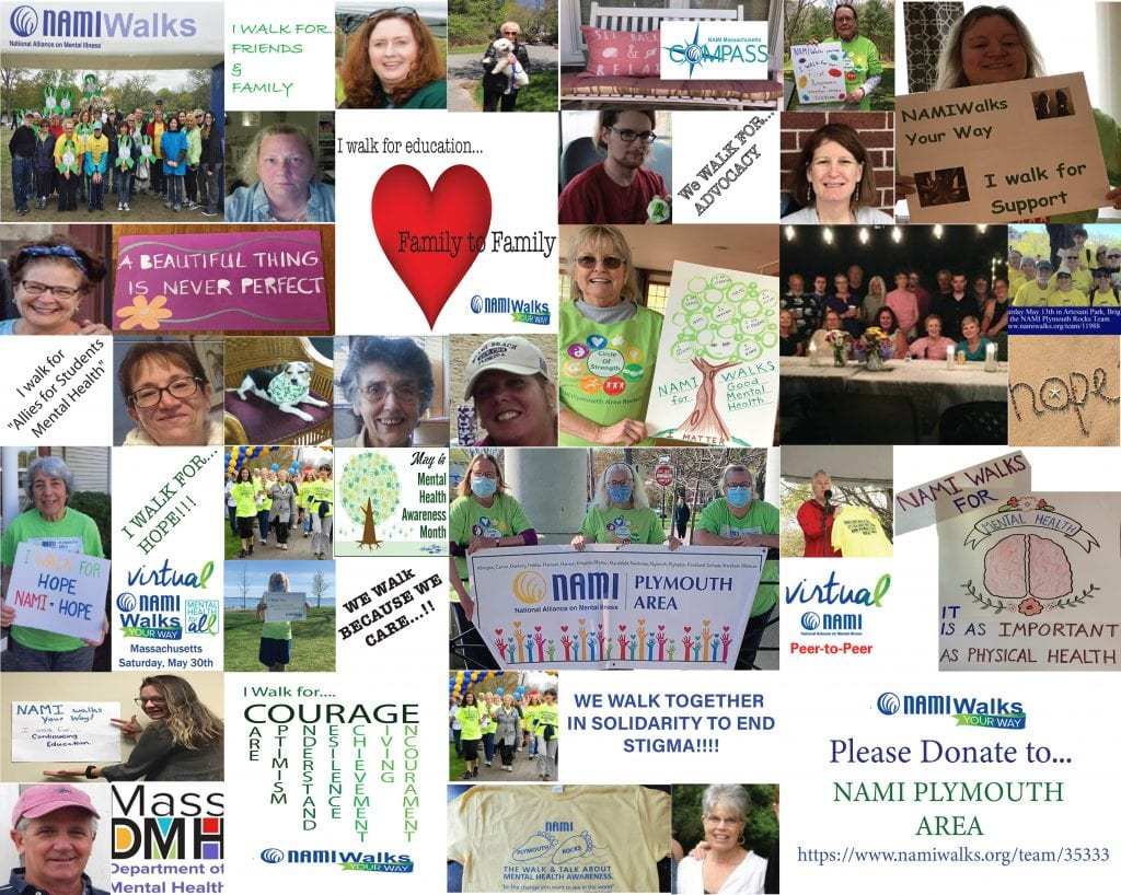NAMI Plymouth collage of people's faces, drawings and inspirational sayings