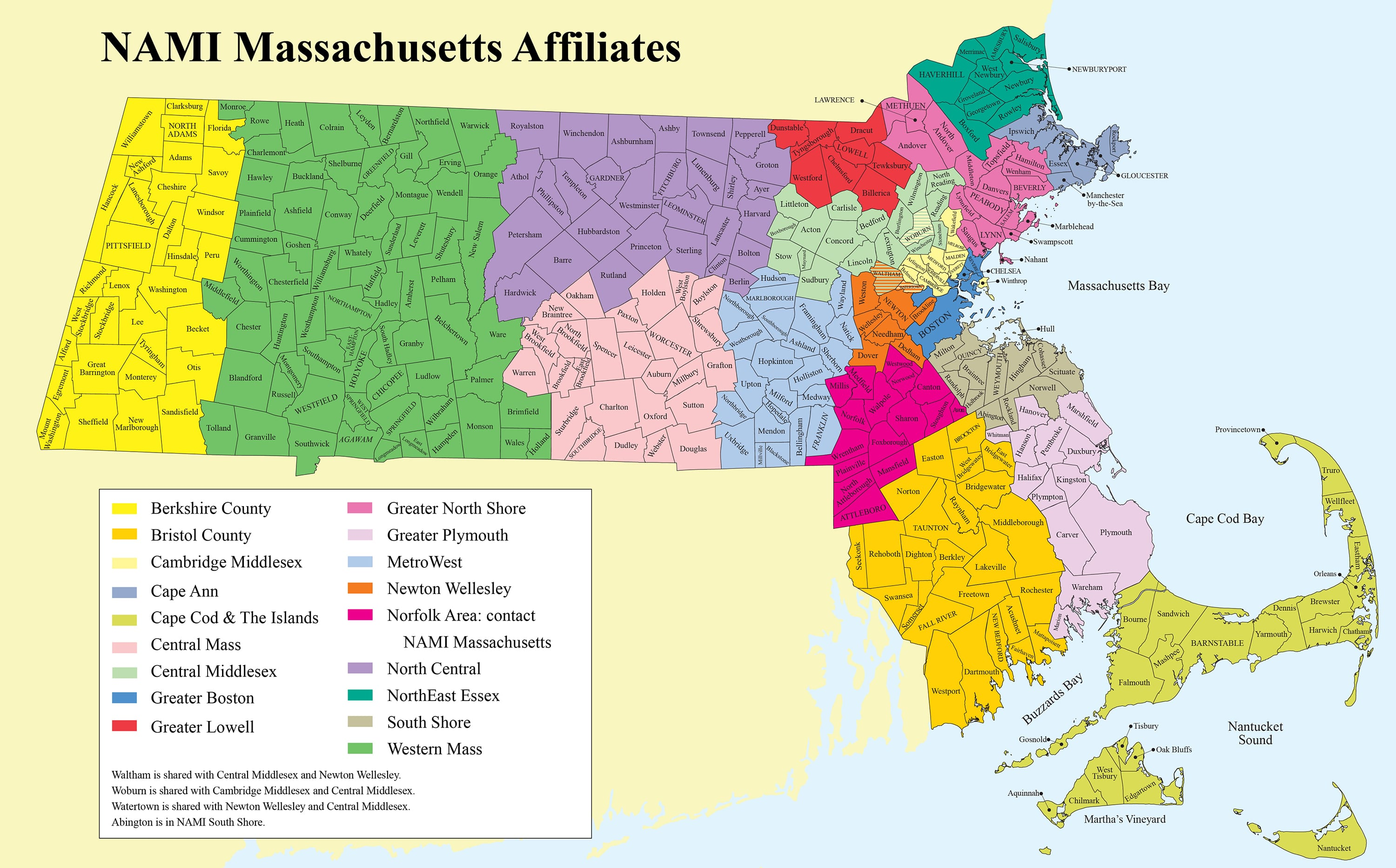 map of NAMI Mass affiliates