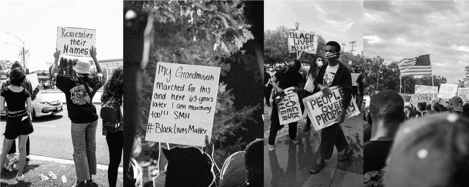 black & white collage of people protesting