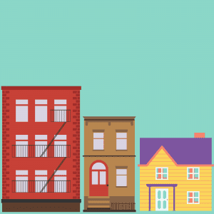 cartoon image of a series of apartment buildings and houses