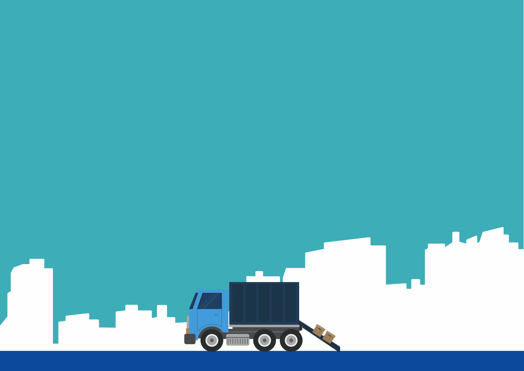 drawing of a truck with moving boxes, with a city skyline in the background
